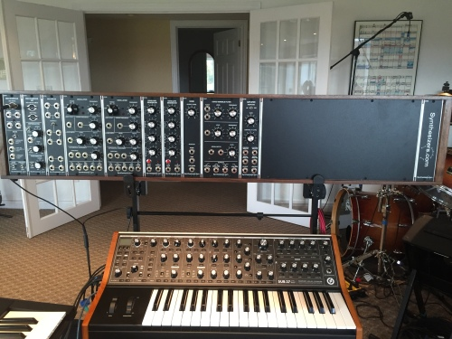 The Synthesizers.com Modular atop the Moog Sub 37